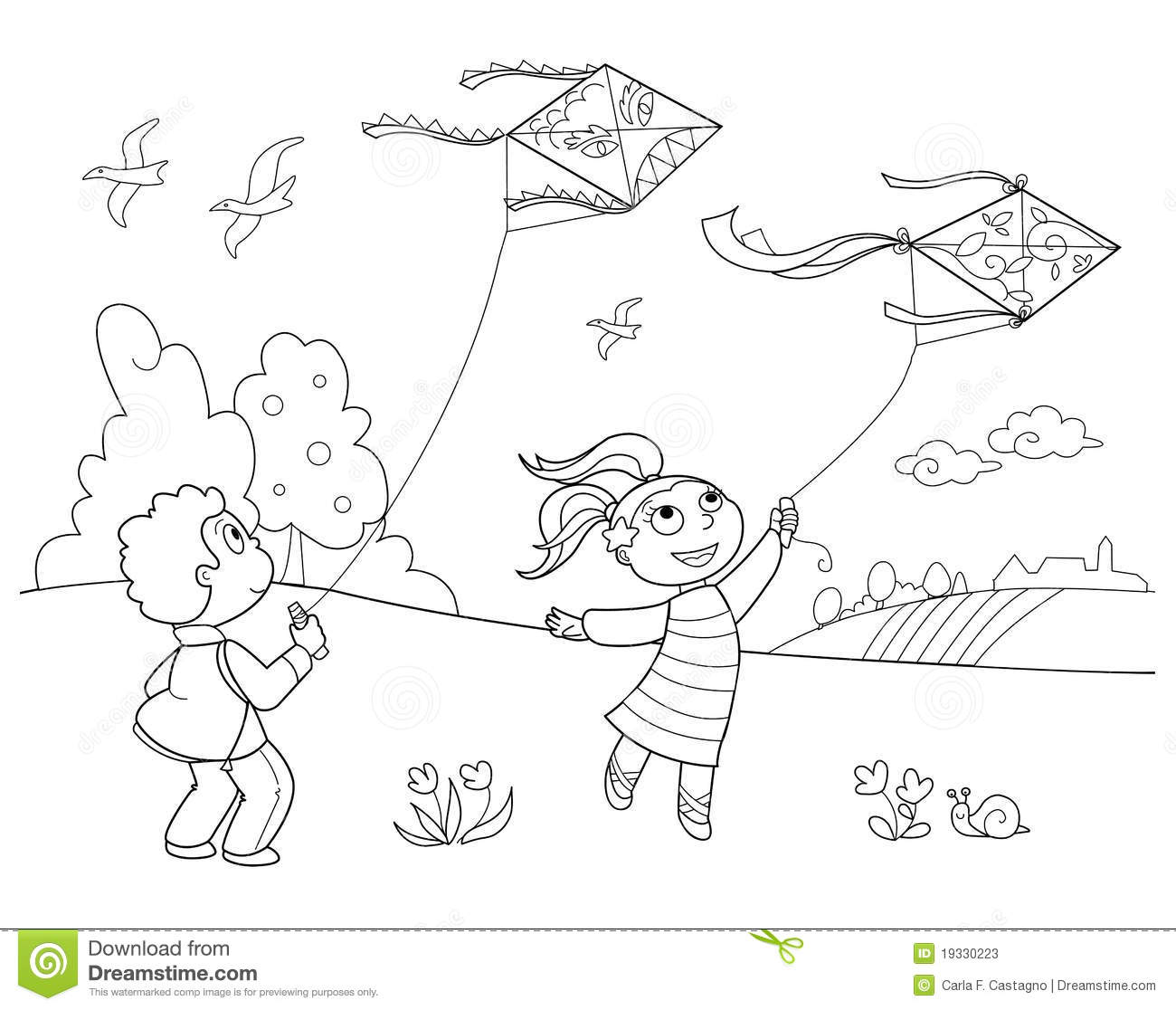 Children Playing In The Park Clipart Black And White 11
