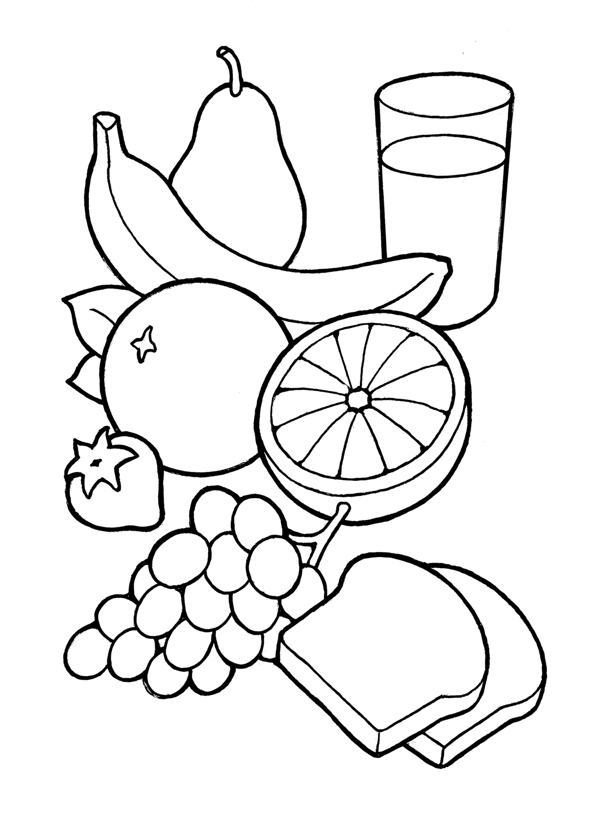 Eating Healthy Food Clipart Black And White 10