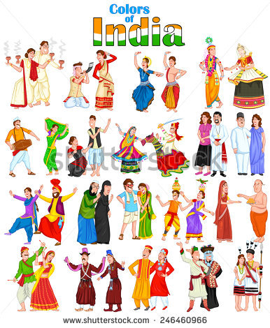 Indian traditional dresses of different states clipart 1 ...