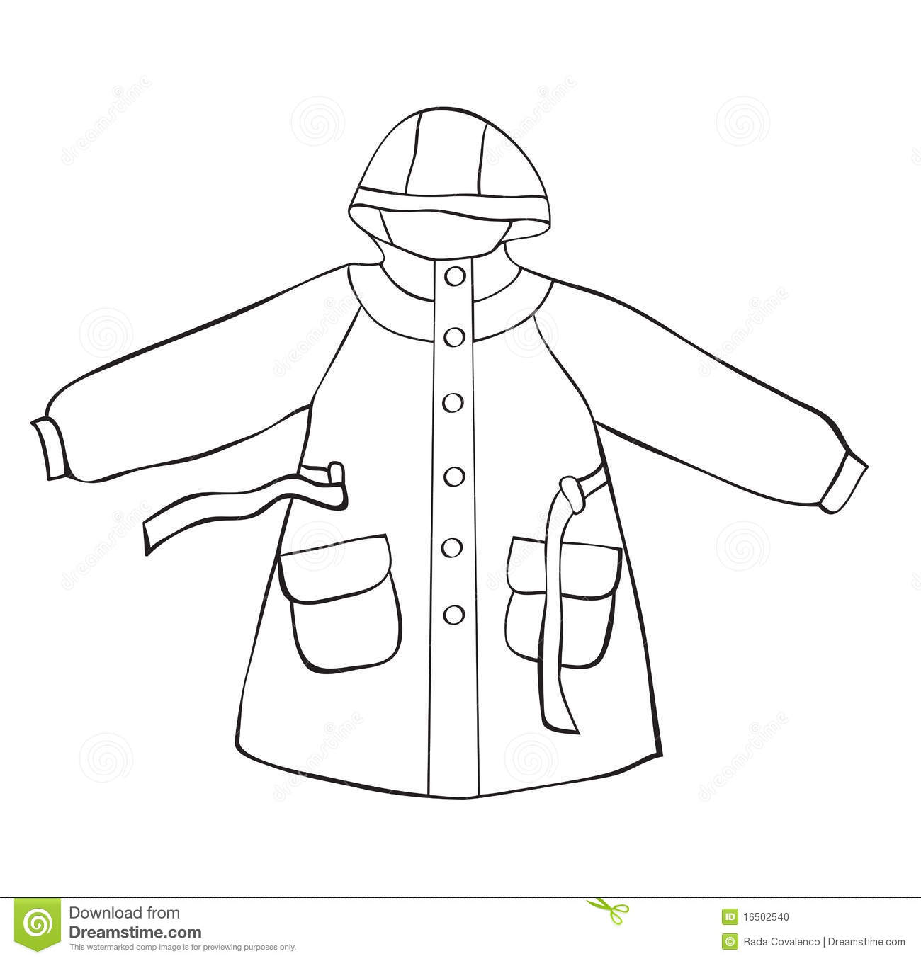 Raincoat Clipart Black And White 2