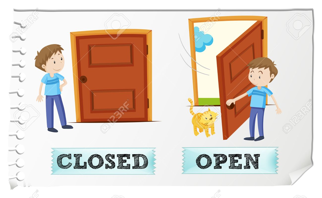 Opposite Adjectives Closed And Open Clipart Station