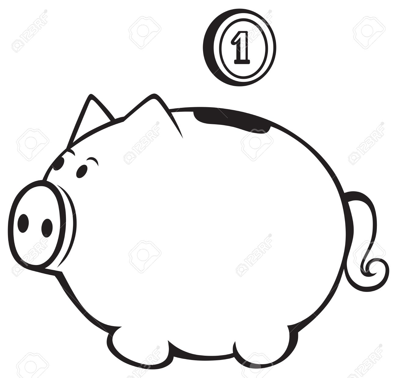 Piggy Bank Clipart Black And White 5 Clipart Station