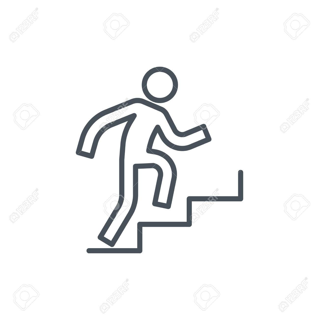 Man Climbing Up Stairs Icon Clipart Station