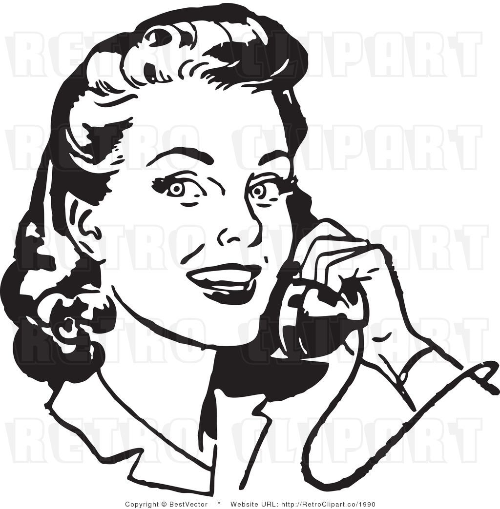 People Talking On Phone Clipart Black And White