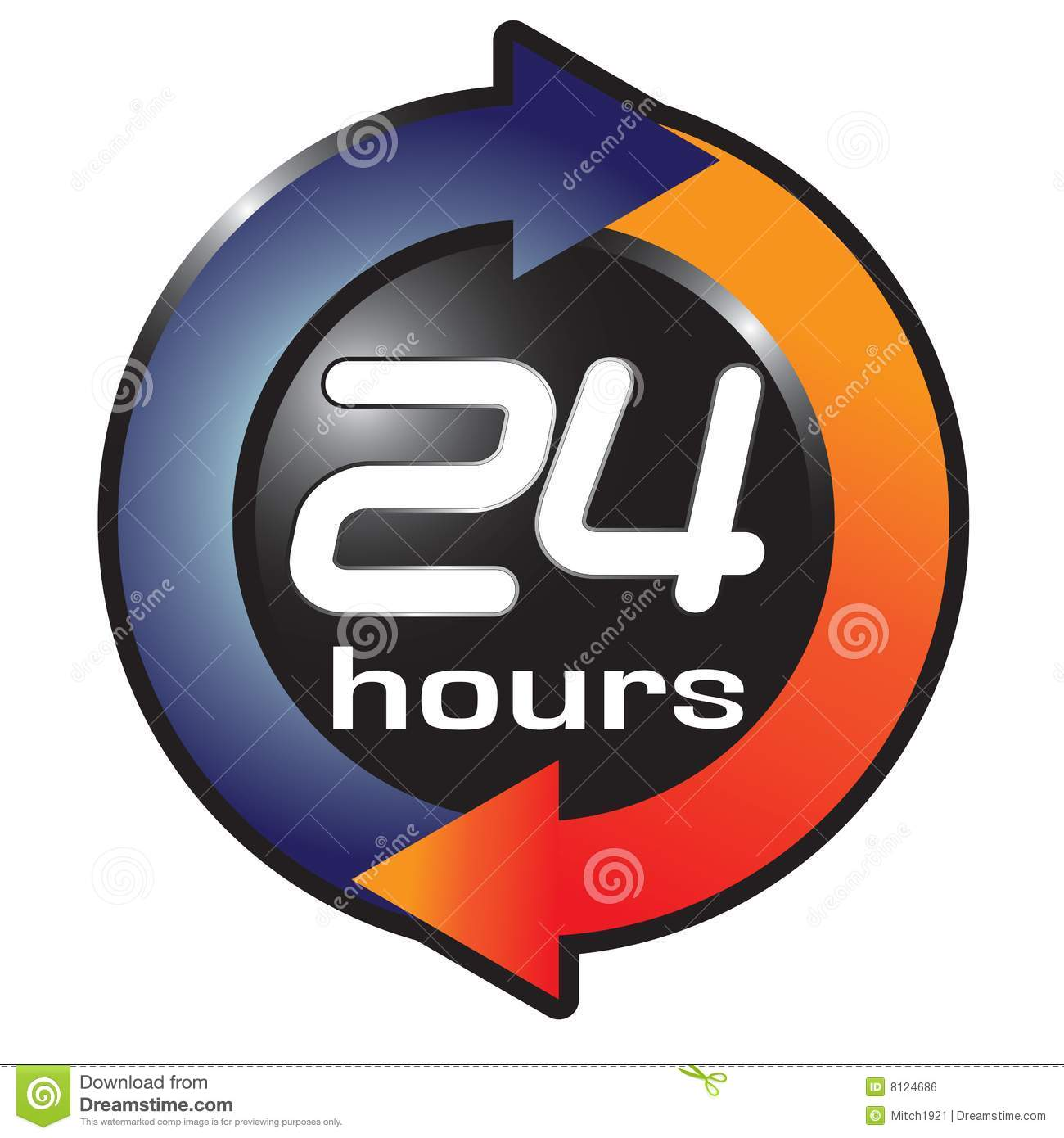 24 Hour Clock Clipart