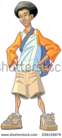 Africian Americancartoon Boy With Backpack Clipart 20 Free
