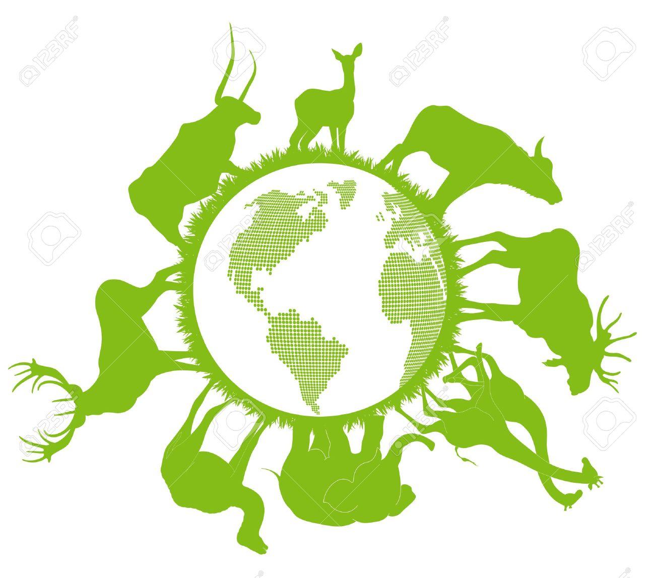 Animals Around Earth Clip Art
