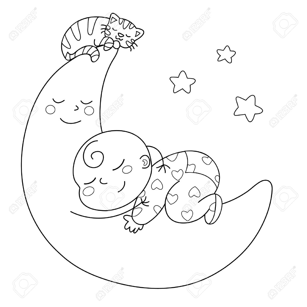 Baby Sleeping Clipart Black And White