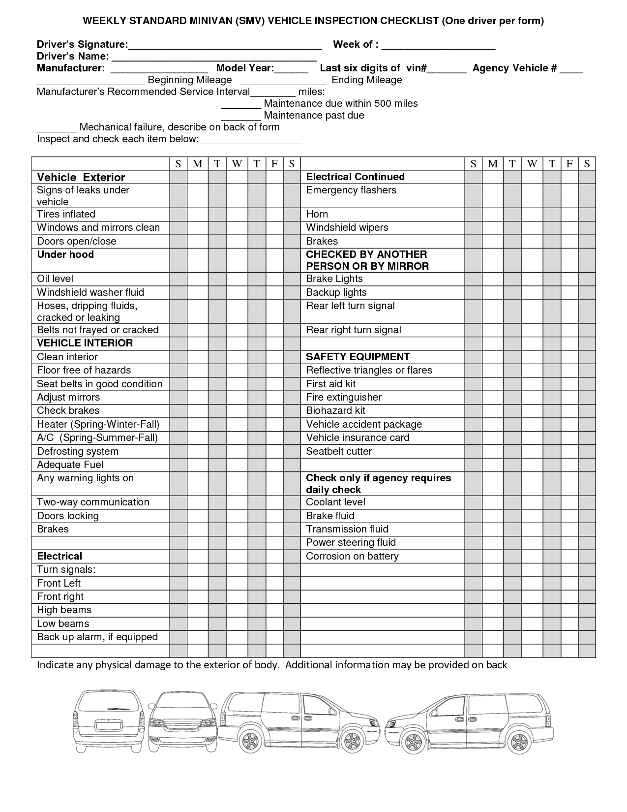 Black And White Clipart Car Inspection Check List