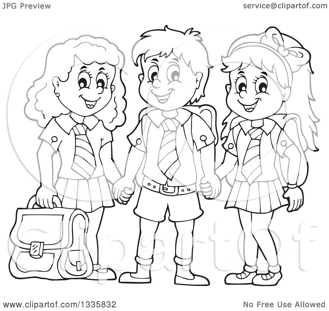 Black And White Clipart Of School Children