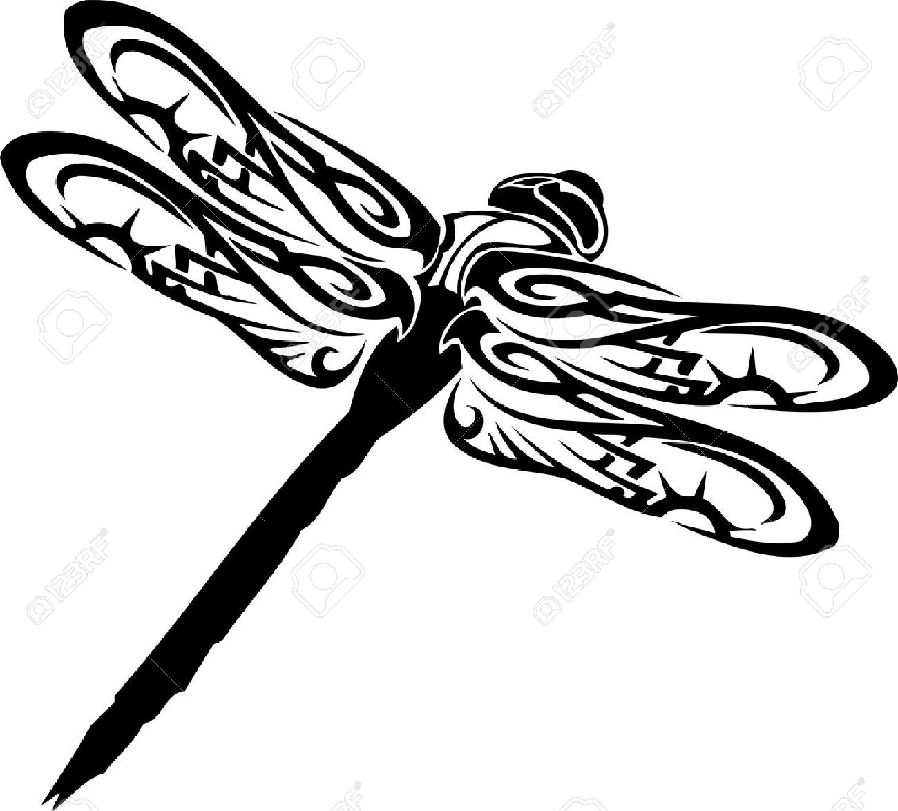 Black And White Dragonfly Silhouette Clipart Free