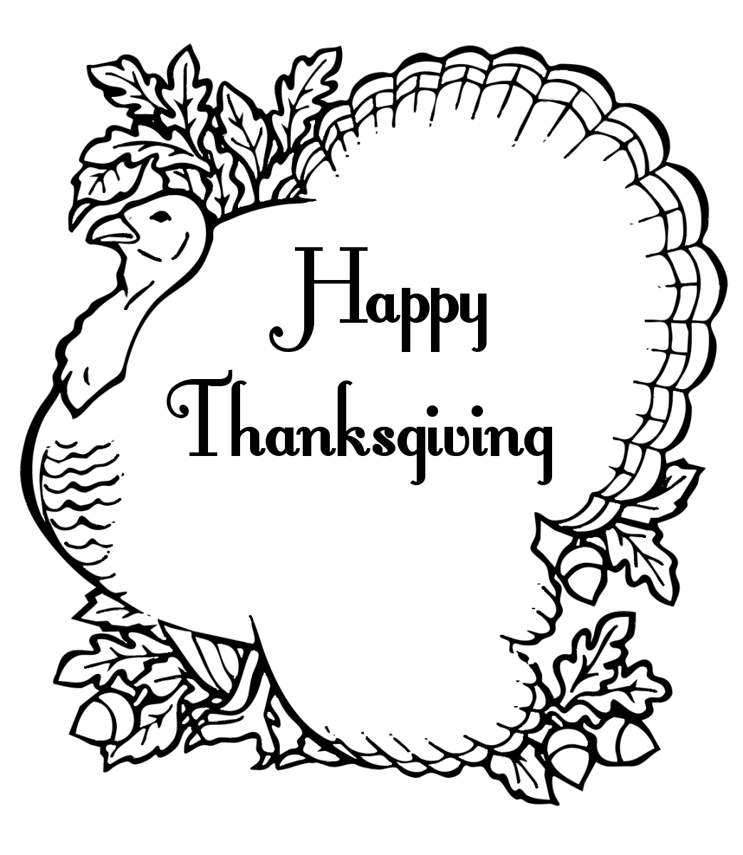 Black And White Happy Thanksgiving Clipart