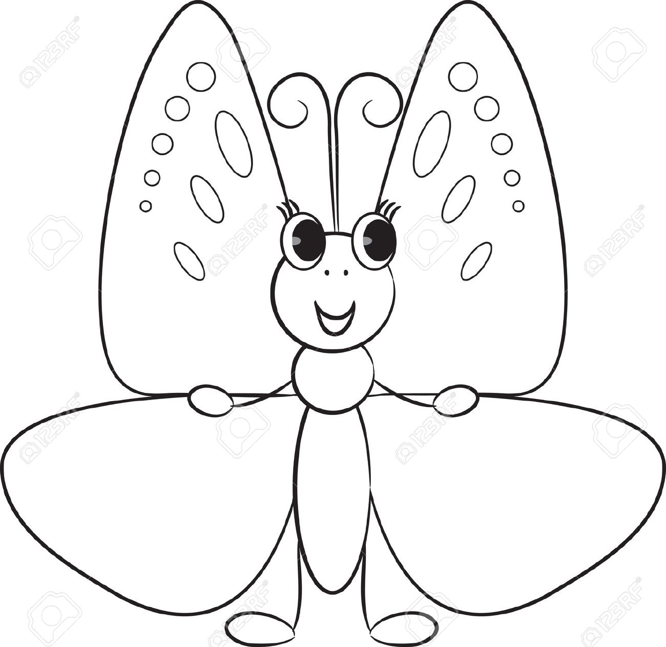 Cartoon Butterfly Clipart Black And White