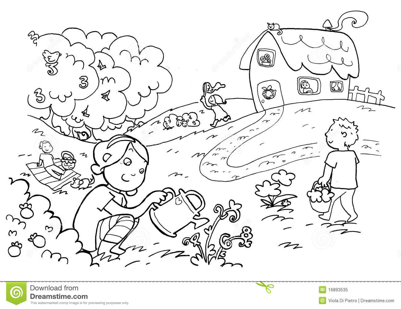 Black And White Vegetable Garden Clipart