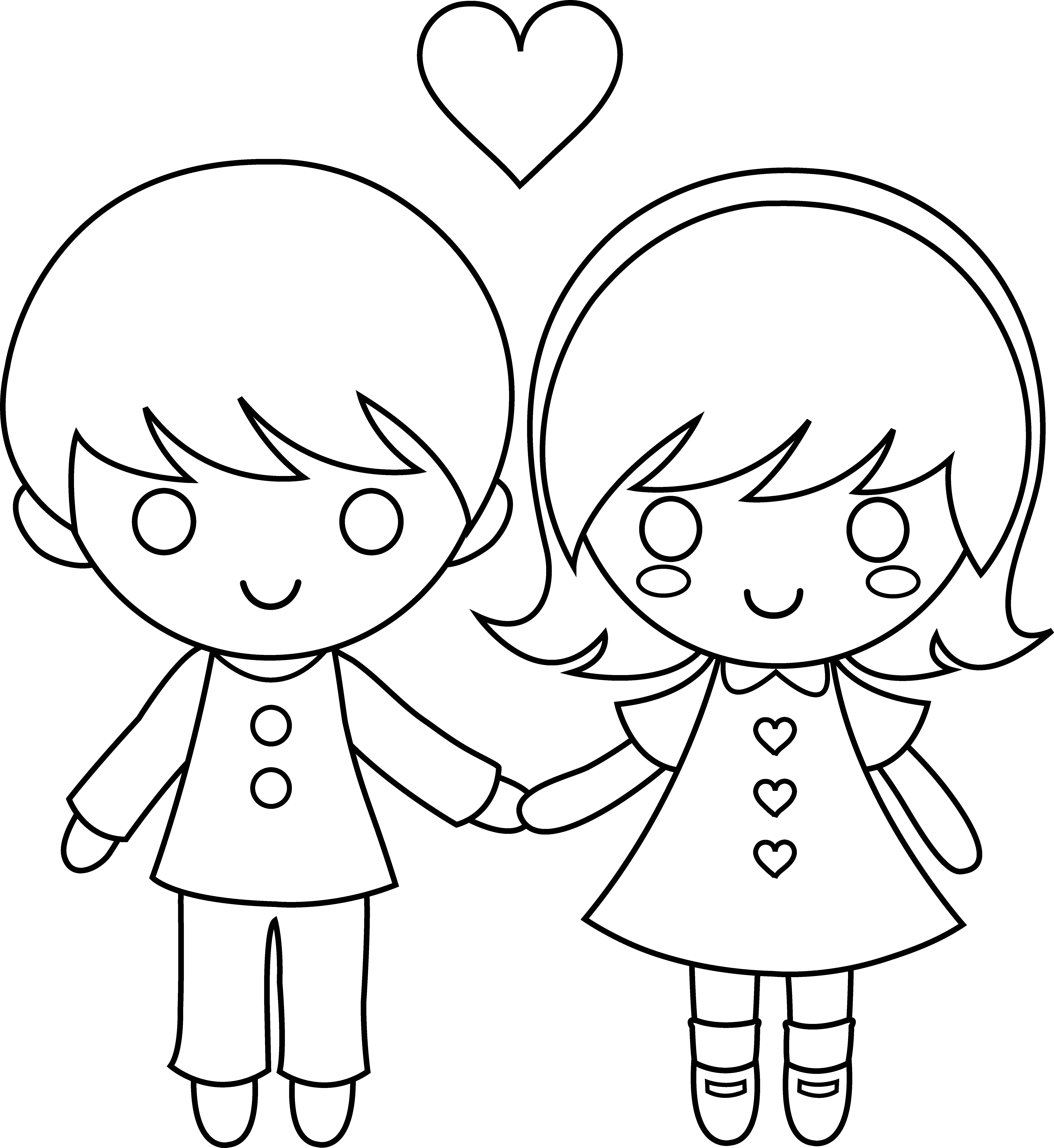 Boy And Girl Cartoon Clipart To Color 20 Free Cliparts