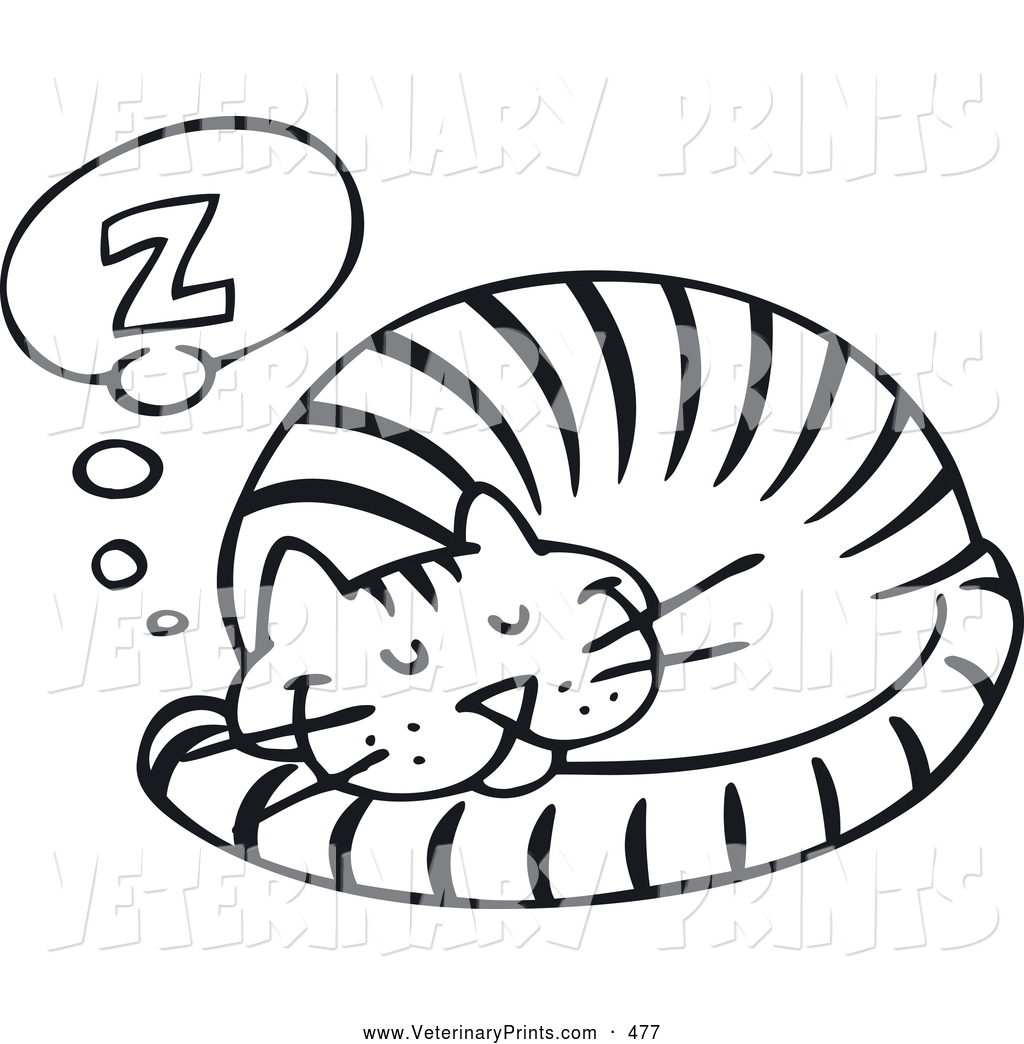 Sleeping Cat Clipart Black And White