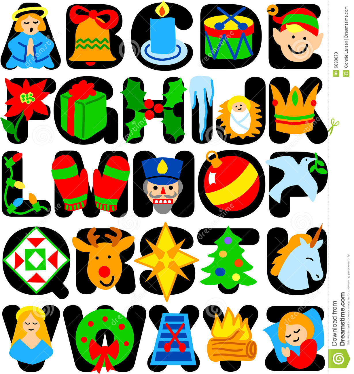 Christmas Alphabet Clipart