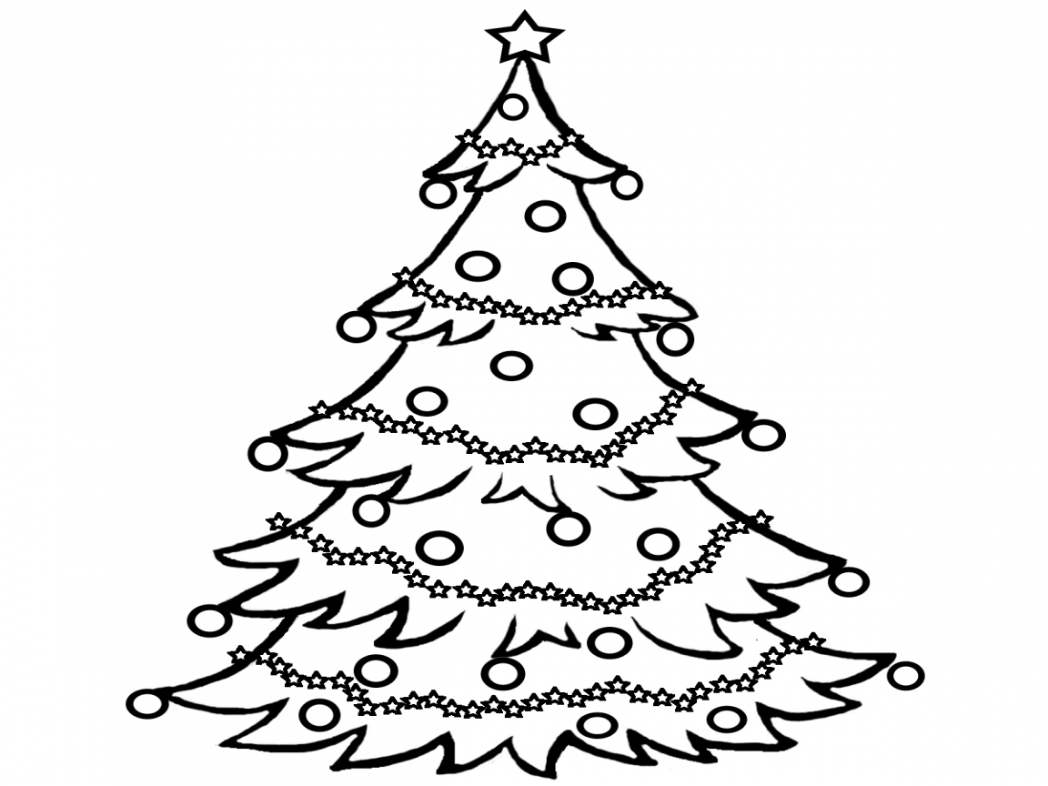 Christmas Tree Scenery Clipart Black And White