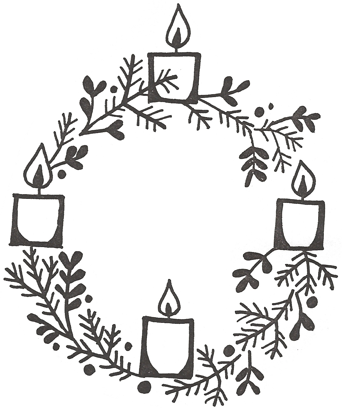 Clipart Advent Wreath Three Candles Lit