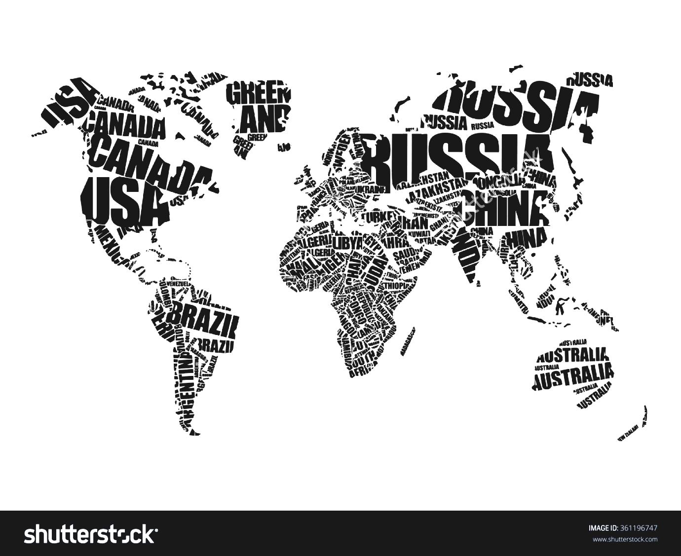 Clipart Black And White Countries World