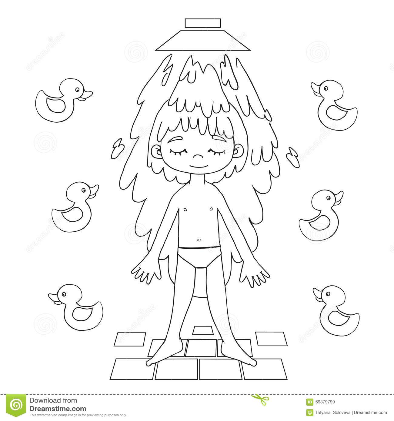 Clipart Of Black Boy Taking A Shower