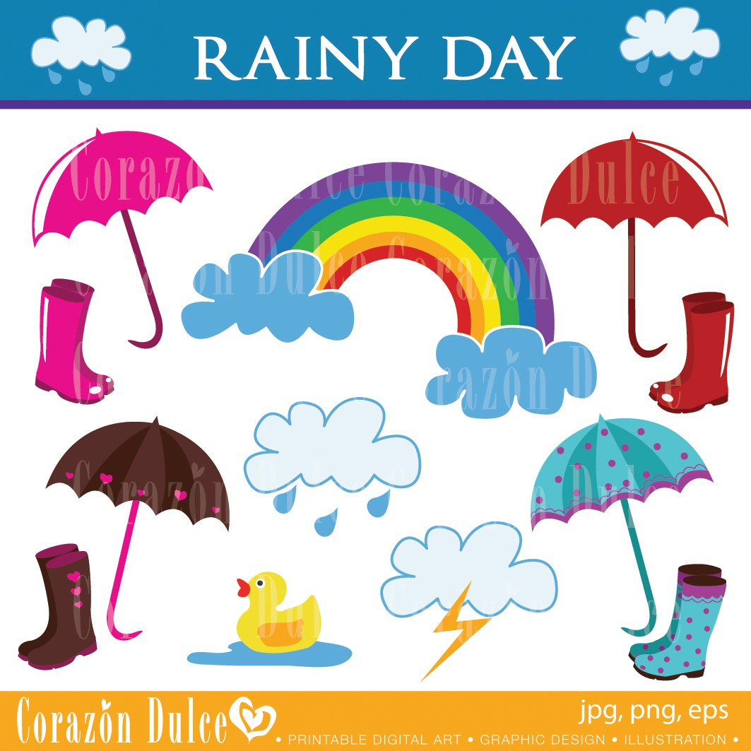 Cloudy Day And Raining Clipart