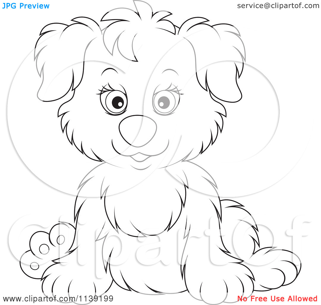 Cute Puppy Cuddling Clipart Black And White