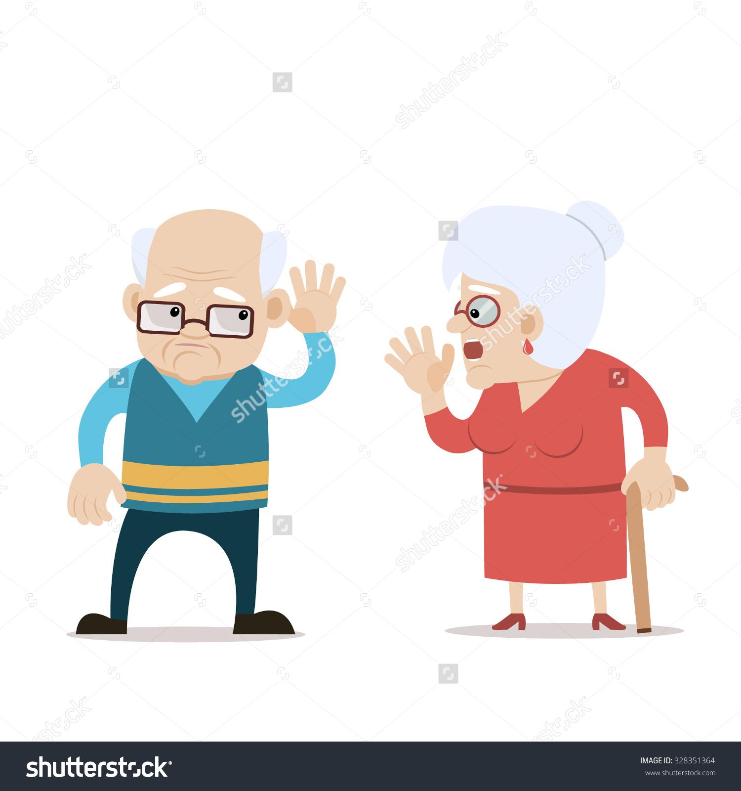 Cartoon Blind Man And Woman