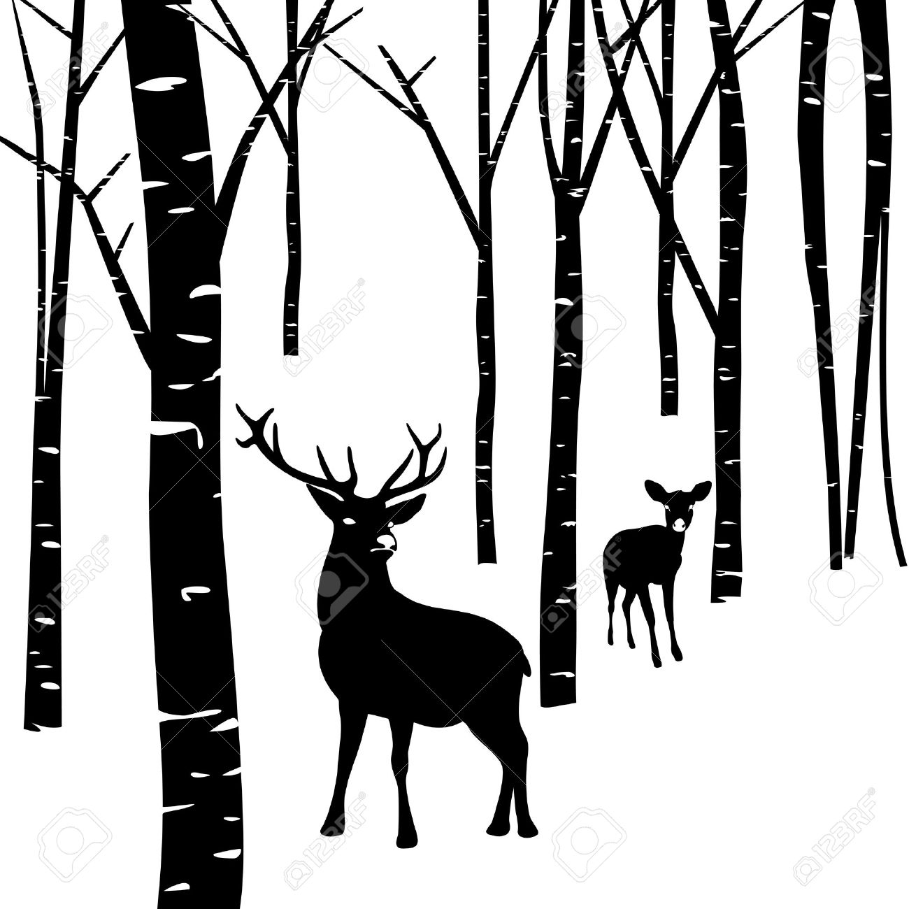 Deer In The Woods Clipart Silhouette
