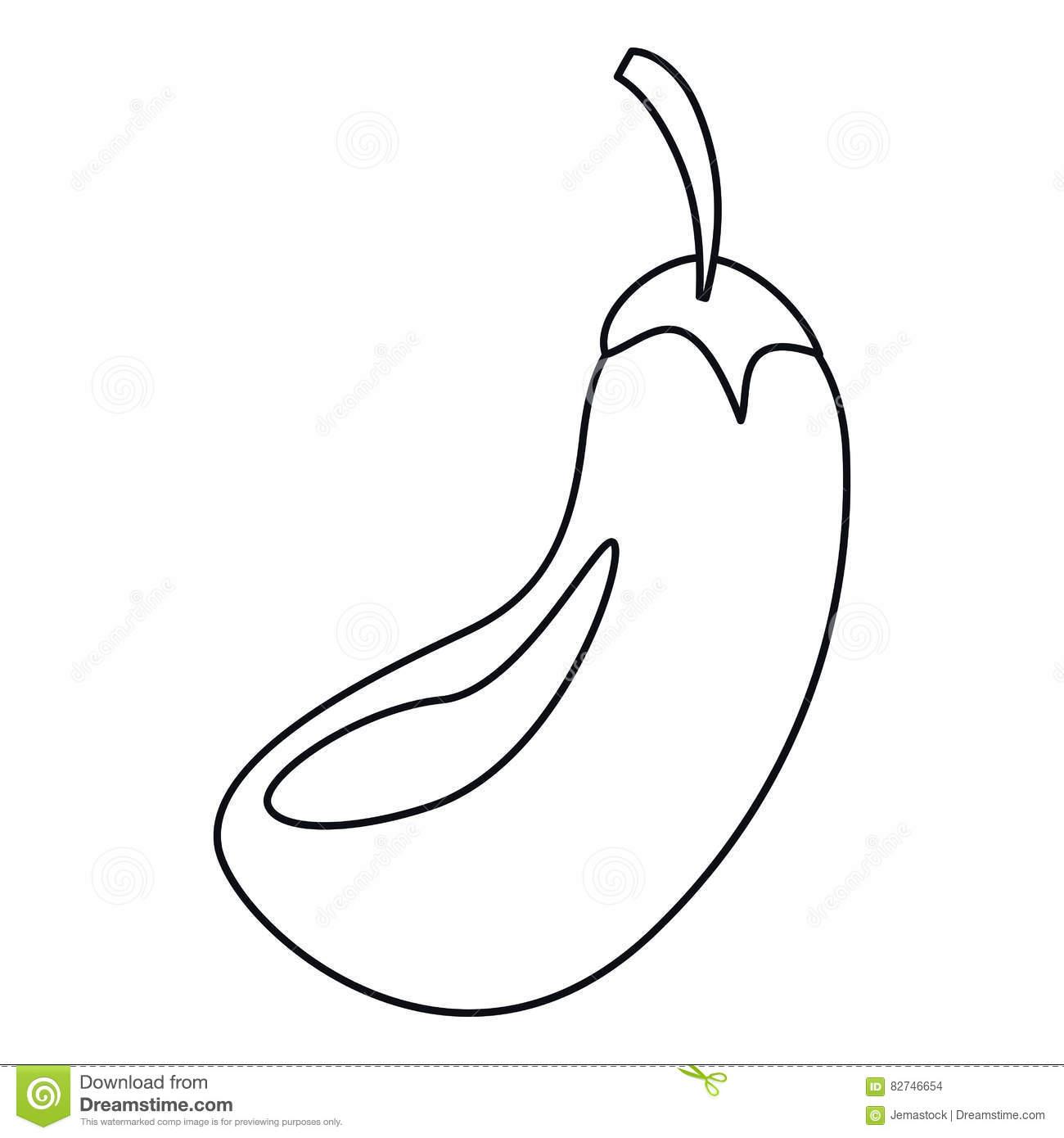 Eggplant Outline Clipart
