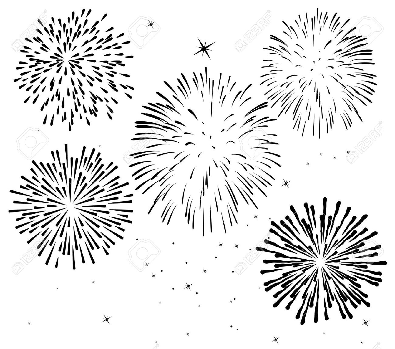Fireworks Border Black And White Clipart 20 Free Cliparts
