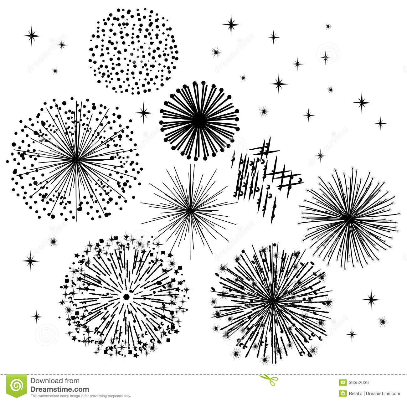 Fireworks Border Black And White Clipart
