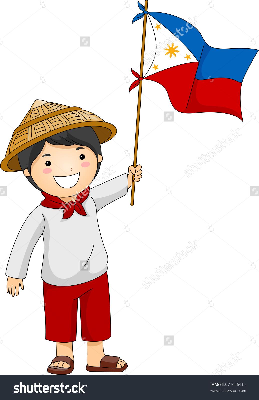 Child Holding Flag Clipart