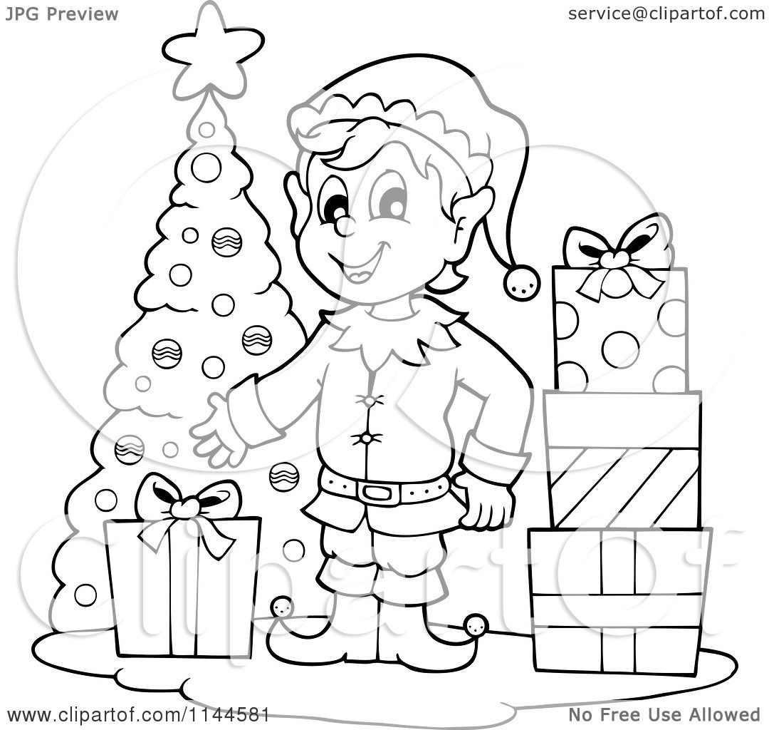 Free Black And White Christmas Elf Clipart