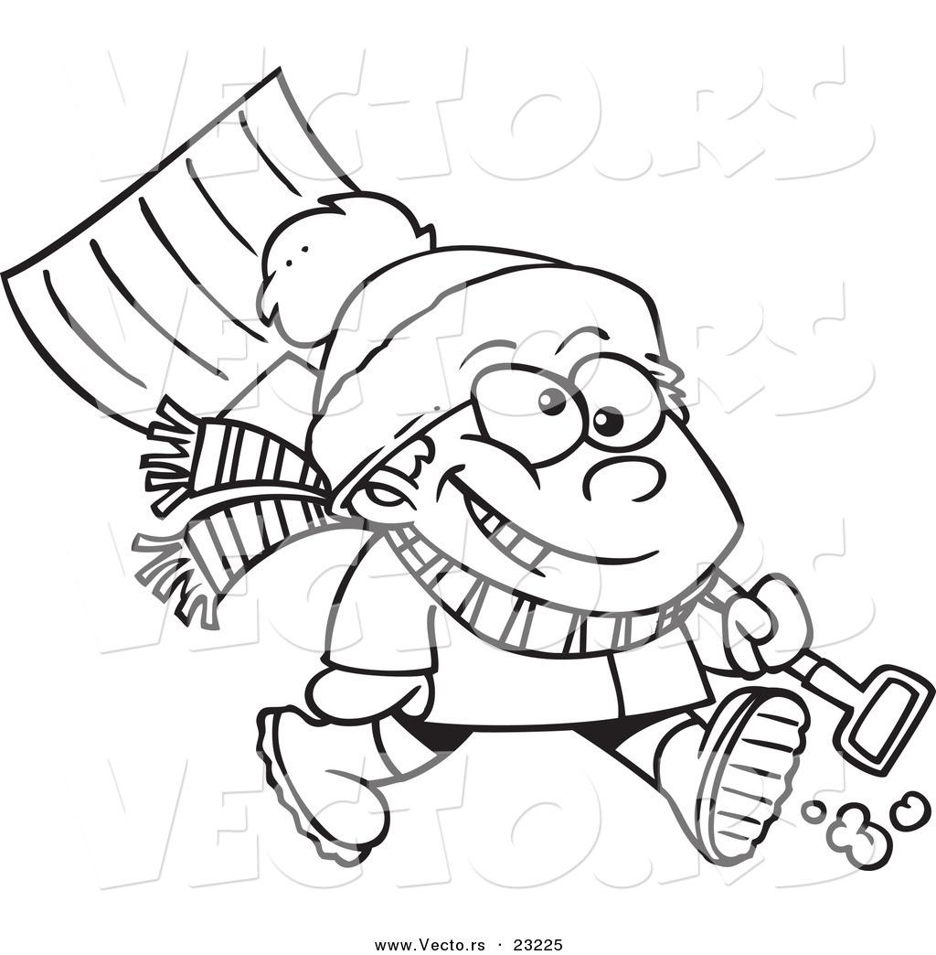 Free Clipart Cartoon Image Of Man Shoveling Snow 20 Free