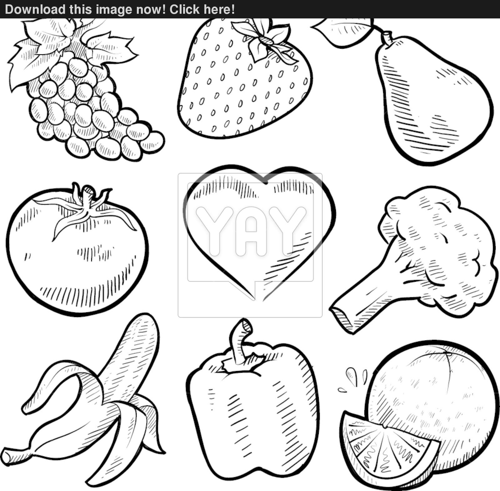 Fruit And Vegetable Clipart Black And White