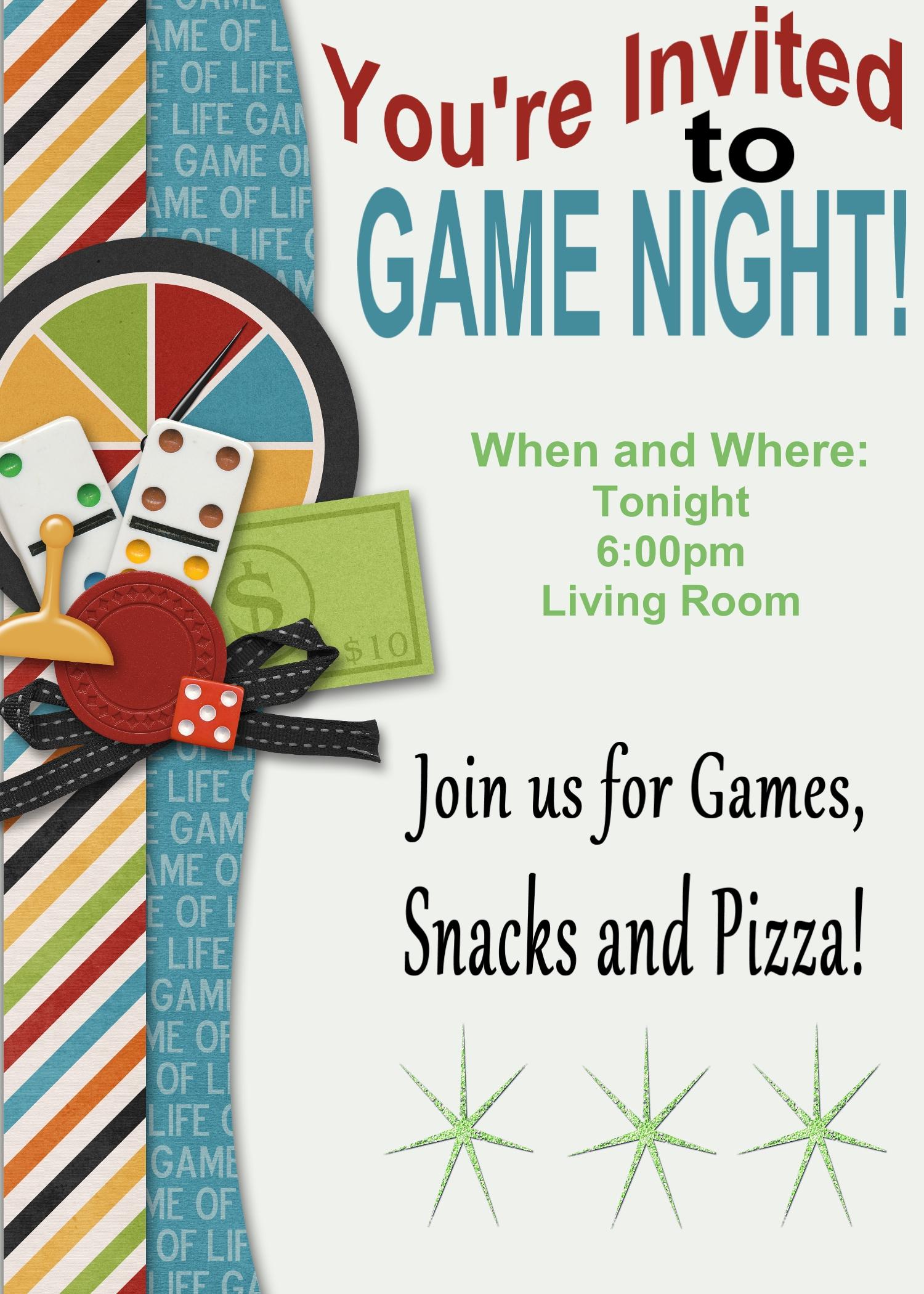 Game Night Invitation Clipart