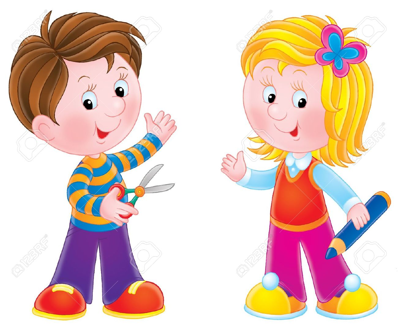 Clipart Of A Boy And Girl
