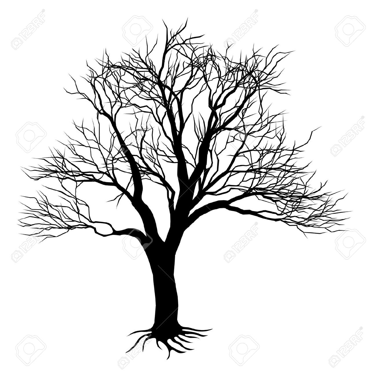 Gnarled Black Tree Stump Clipart