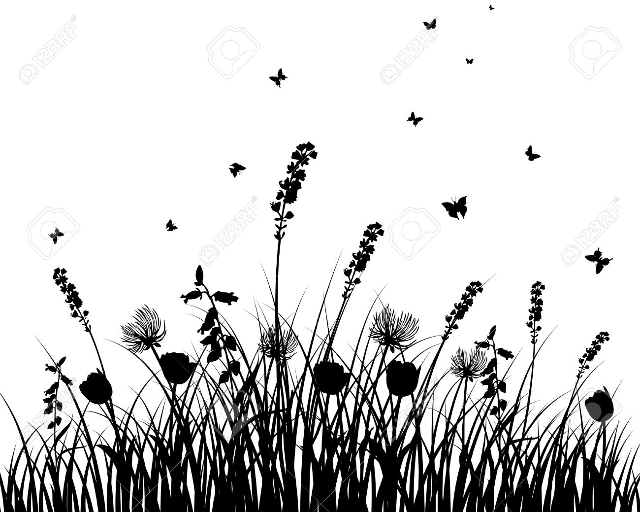 Grass Flowers Clipart Silhouette 20 Free Cliparts