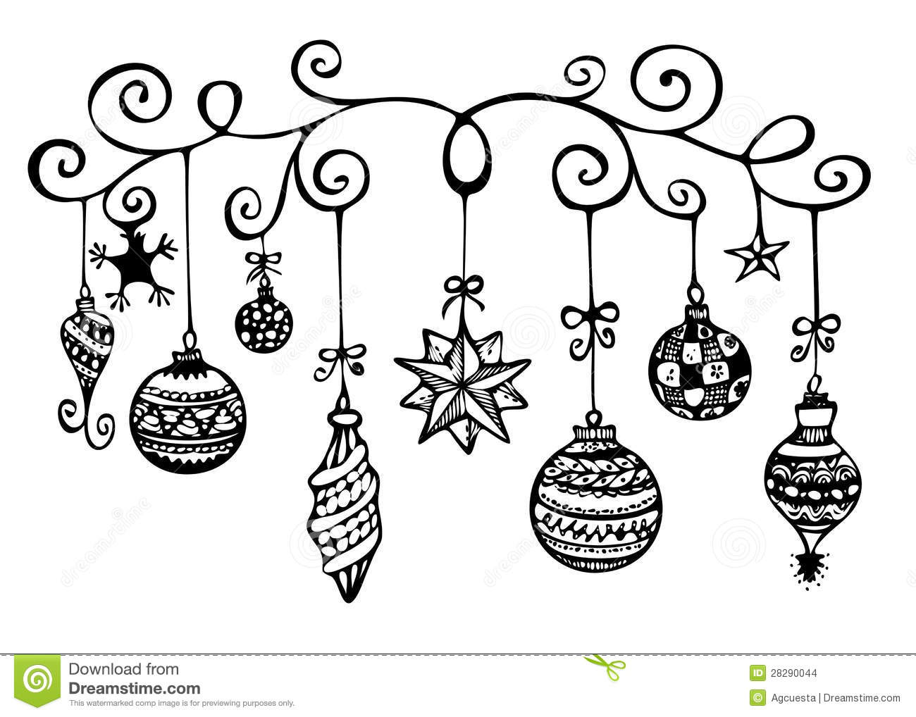 Hanging Christmas Ornament Clipart Black And White