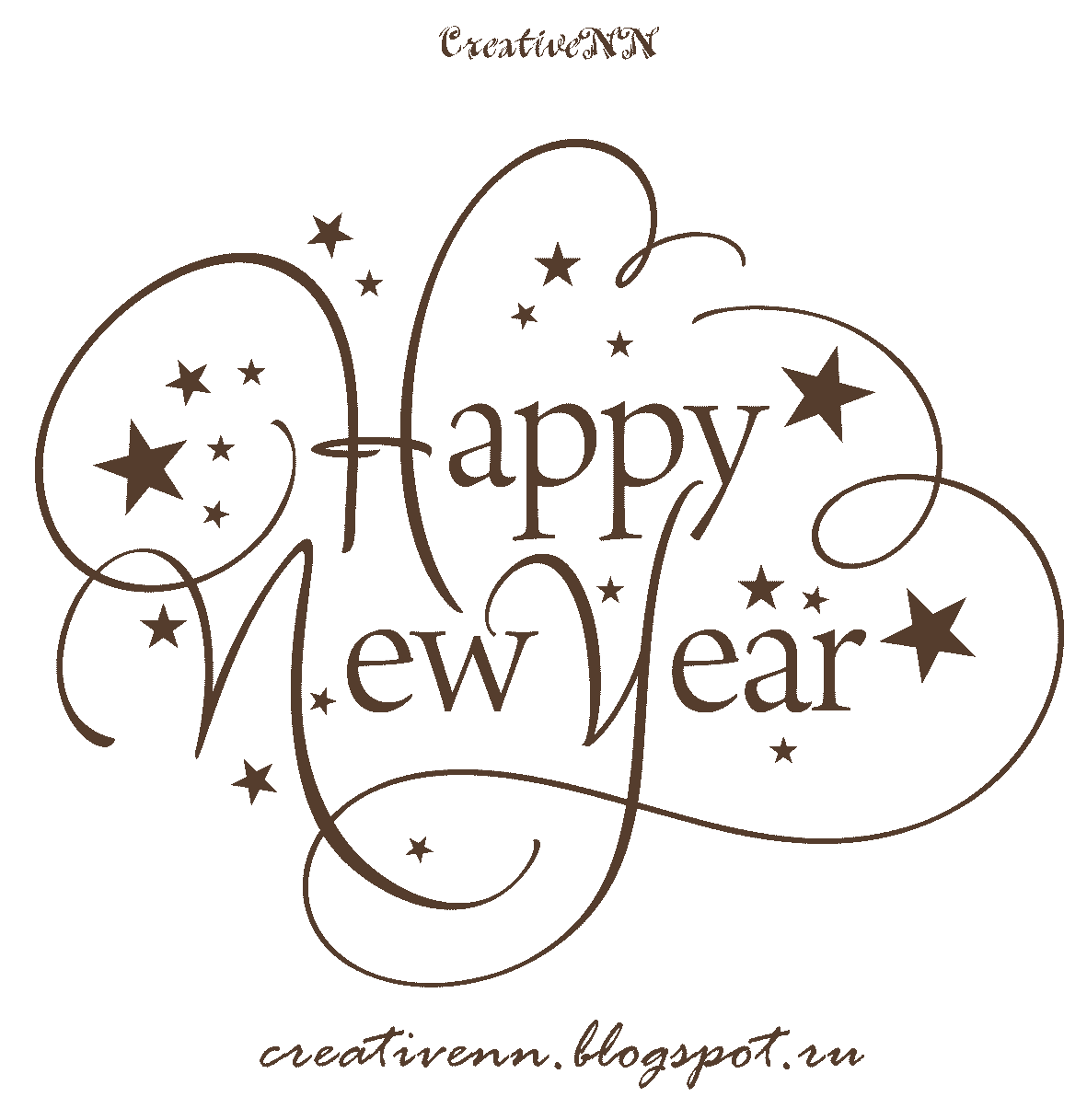 Happy New Year Black And White Clipart