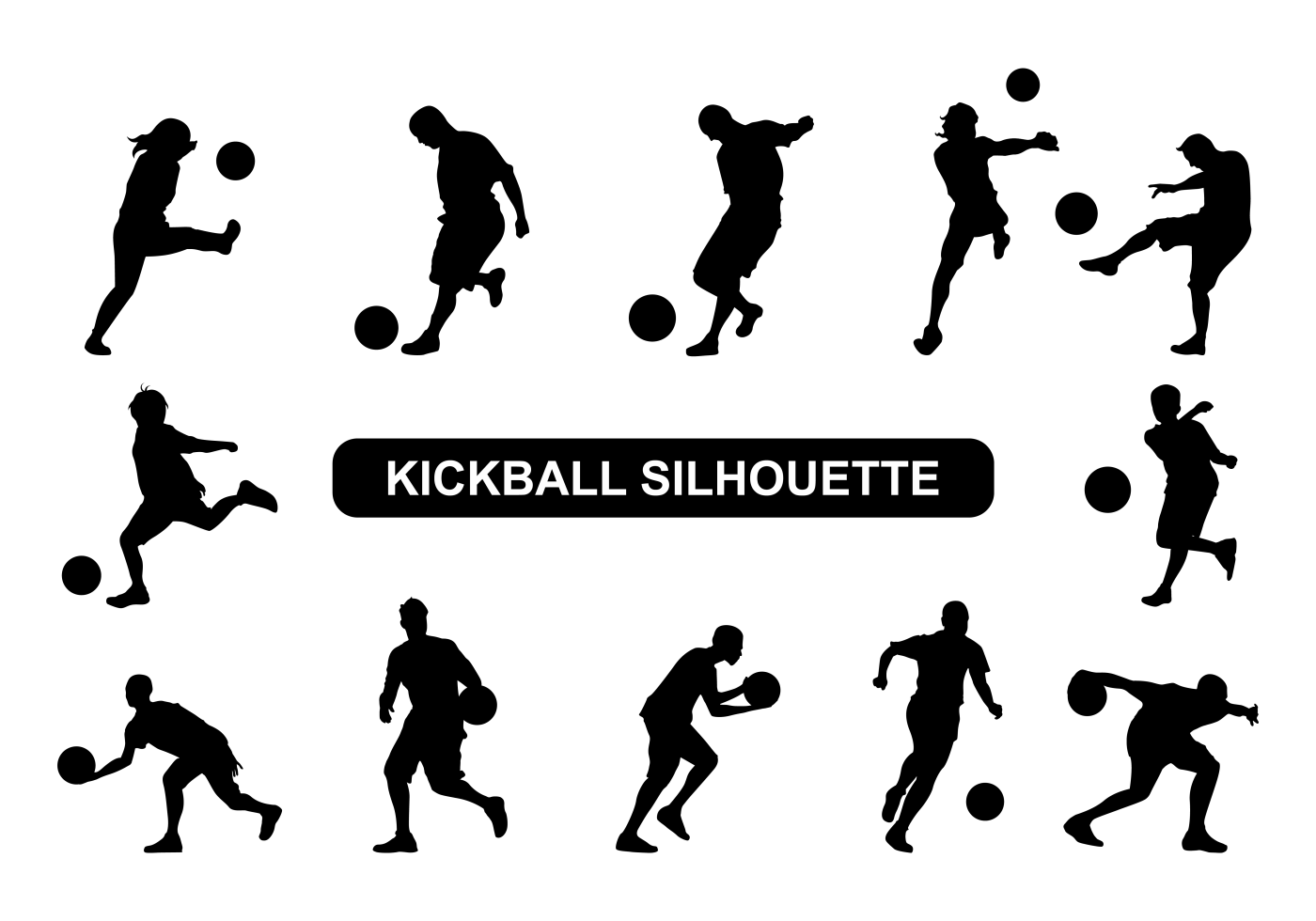 Kickball Team Silhouette Clipart