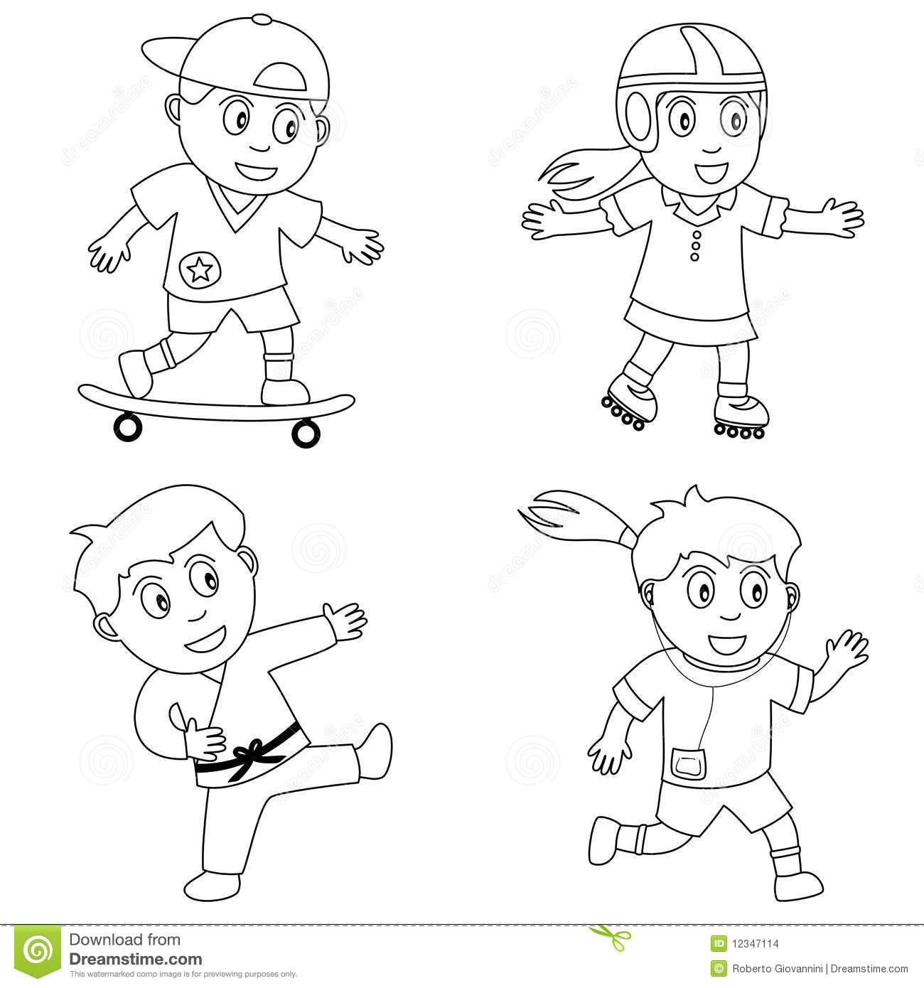 Kids Playing Sports Clipart Black And White 20 Free