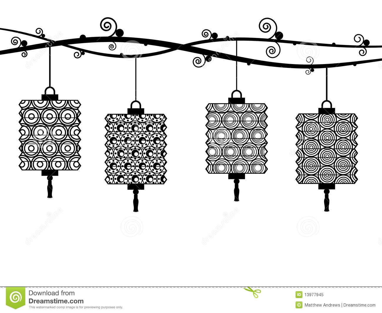 Lantern Clipart Black And White