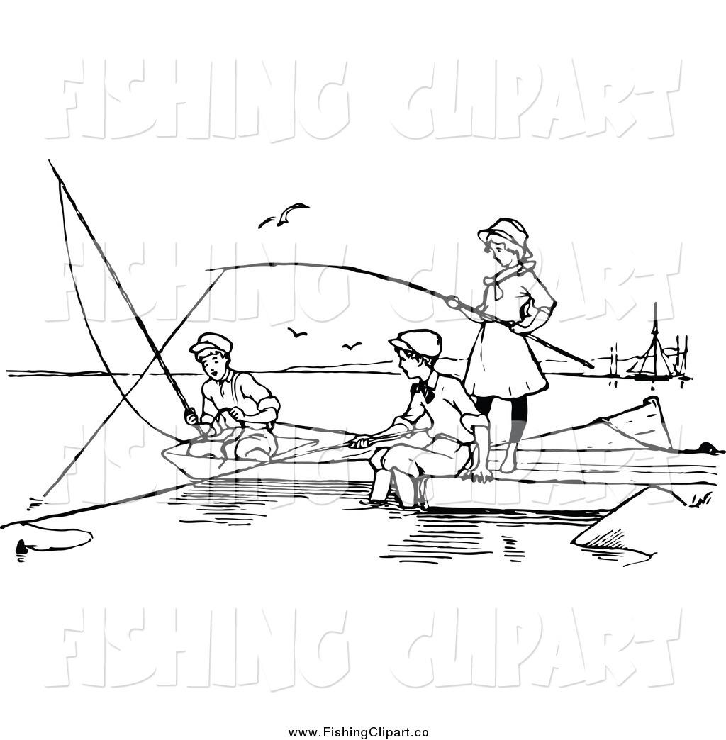 Little Girl Fishing Clipart Black And White