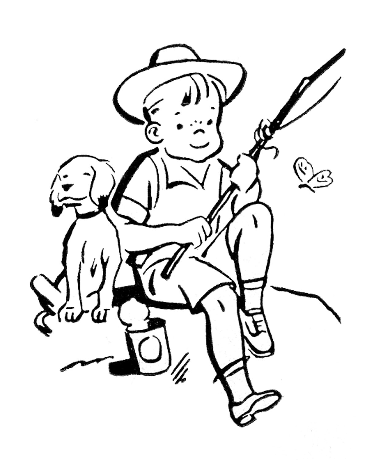 Little Girl Fishing Clipart Black And White