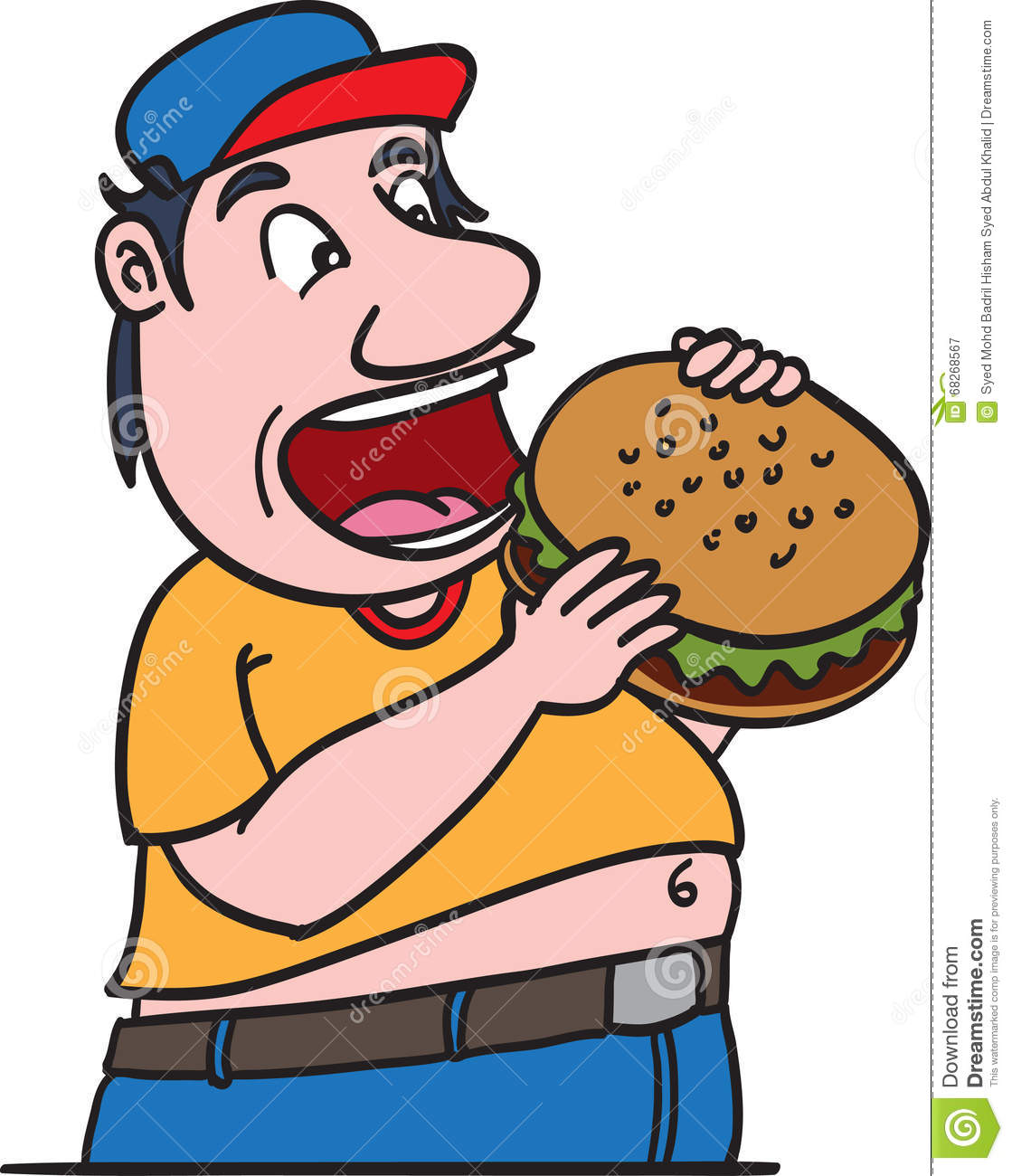 Burger Guy Fat Happy Eating