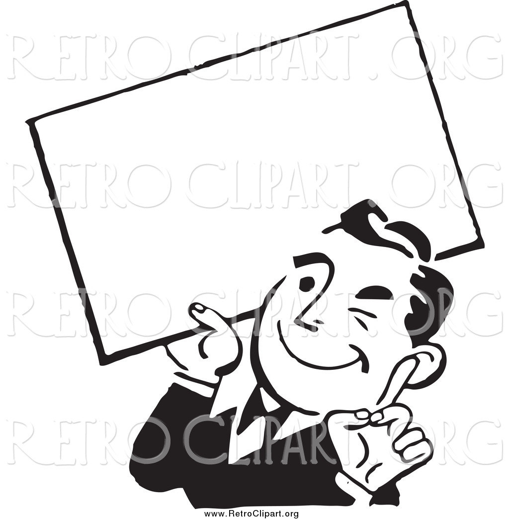 Man Holding Sign Clipart