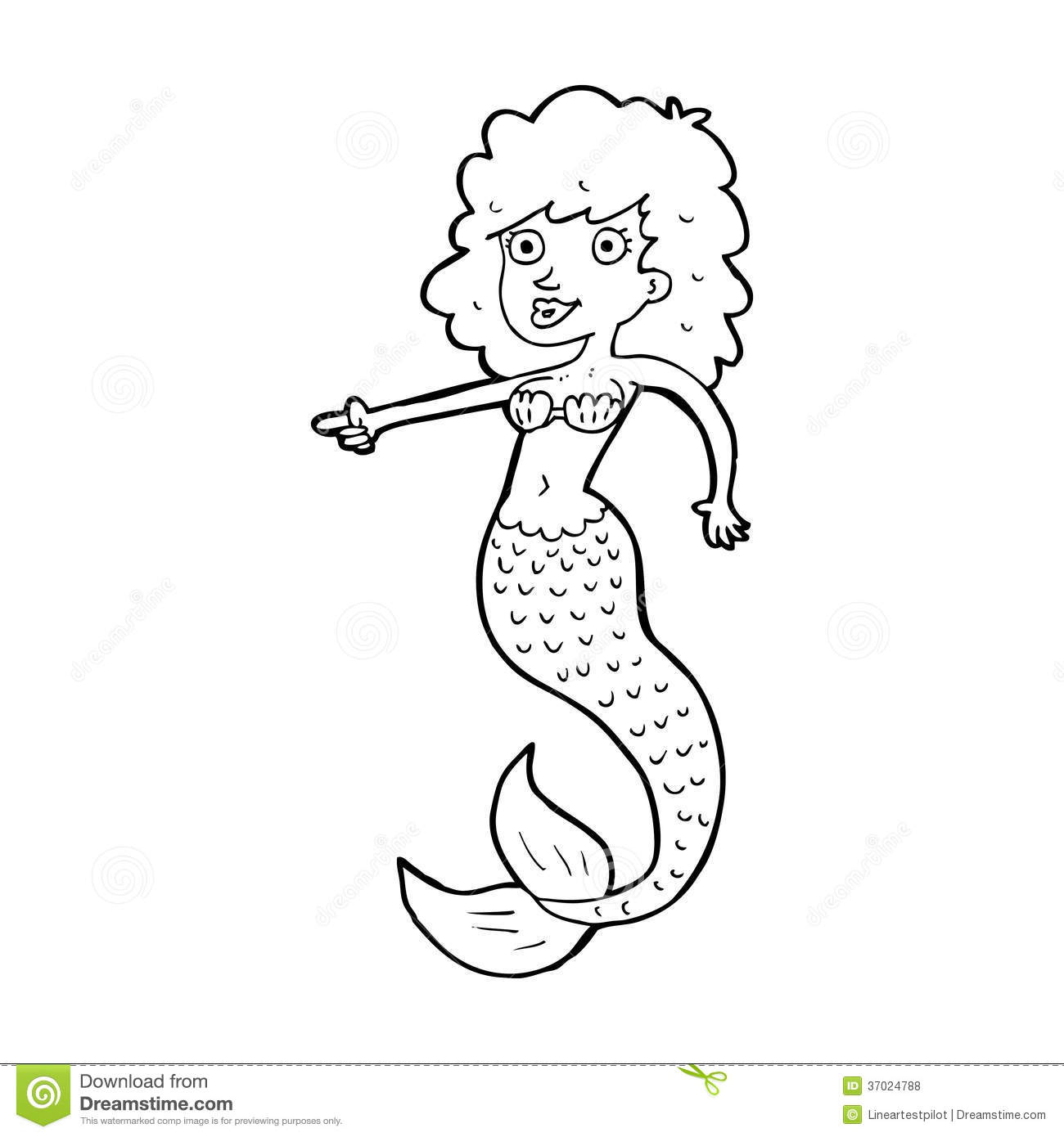 Mermaid Black And White Clipart